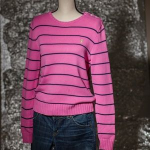 Ralph Lauren cotton pink/navy sweater